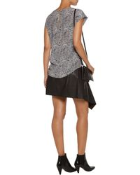 Joie - Gray Rancher Printed Washed-silk Top - Lyst