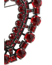 Lanvin - Red Burnished Silver-tone Crystal Brooch - Lyst