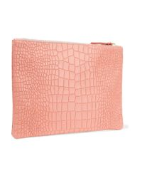 Clare V. - Pink Supreme Croc-effect Leather Clutch - Lyst