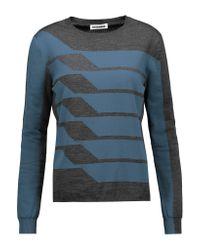 Jil Sander - Blue Two-tone Wool-blend Sweater - Lyst