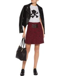 COACH - Red Printed Silk Mini Wrap Skirt - Lyst