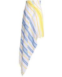 Lemlem - Blue Embroidered Striped Cotton-blend Gauze Pareo - Lyst