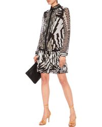 Roberto Cavalli - Black Pleated Printed Silk-chiffon Mini Dress Animal Print - Lyst