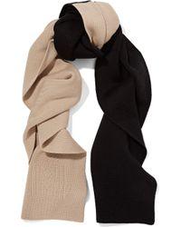 Totême  - Black Elvas Two-tone Merino Wool And Cotton-blend Scarf - Lyst