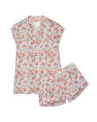 Three J Nyc - Red Olivia Floral-print Cotton-poplin Pajama Set - Lyst