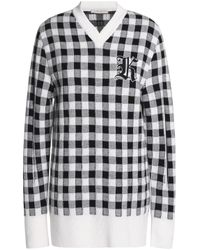 Christopher Kane - Black Appliquéd Checked Wool And Cashmere-blend Sweater - Lyst