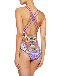 Camilla - Red Crystal-embellished Printed Swimsuit - Lyst