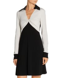 Diane von Furstenberg - Black Two-tone Wool-jersey Dress - Lyst