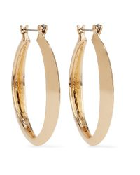 Kenneth Jay Lane - Metallic Gold-tone Hoop Earrings - Lyst