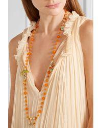 Rosantica | Orange Aloha Gold-plated, Raffia And Quartz Necklace | Lyst