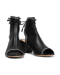 Schutz - Black Embroidered Leather Sandals - Lyst