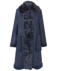 Bottega Veneta - Blue Faux Fur And Shearling-trimmed Suede Coat - Lyst