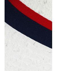 Thom Browne - White Striped Crepe-paneled Frayed Pleated Tweed Skirt - Lyst