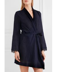 Skin - Blue Lace-trimmed Cotton-gauze Robe - Lyst