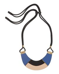 Marni - Blue Cord, Leather And Horn Necklace - Lyst