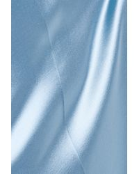 Nina Ricci - Blue Silk Georgette-trimmed Satin Midi Dress - Lyst