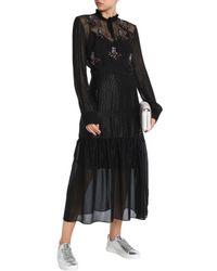 Markus Lupfer - Woman Mina Embellished Metallic Silk-blend Chiffon Midi Dress Black - Lyst