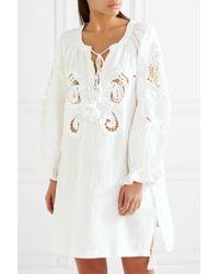 Anjuna - White Emily Crochet-paneled Cotton-gauze Kaftan - Lyst