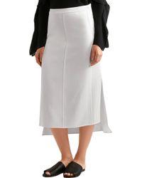 Narciso Rodriguez - White Brushed-satin Midi Skirt - Lyst