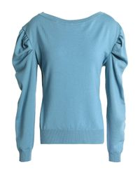 Nina Ricci - Blue Woman Gathered Wool Sweater Turquoise - Lyst