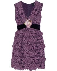 Anna Sui | Purple Camilla Velvet-trimmed Crocheted Lace Mini Dress | Lyst