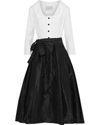 Carolina Herrera - White Poplin-paneled Silk Satin-faille Midi Dress - Lyst