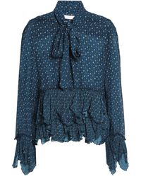 See By Chloé - Blue See By Chloé Woman Pussy-bow Printed Plissé-trimmed Crepe De Chine Blouse Navy - Lyst