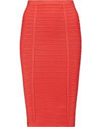 Hervé Léger   Black Bandage Pencil Skirt   Lyst