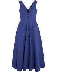 Saloni - Blue Zoe Cutout Cotton-blend Dress - Lyst