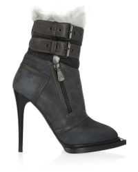 McQ   Blue Leather-trimmed Suede And Shearling Ankle Boots   Lyst