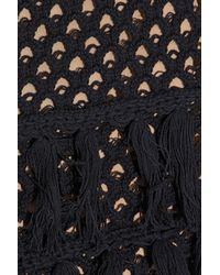 L'Agence - Black Tasseled Crocheted Cotton And Silk-blend Top - Lyst