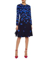 Lela Rose - Blue Crépe Flared Dress - Lyst