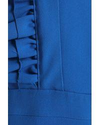 Rochas - Ruffle-trimmed Crepe Dress Cobalt Blue - Lyst