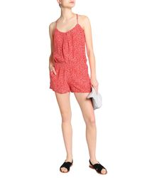 Joie - Printed Silk Crepe De Chine Playsuit Tomato Red - Lyst
