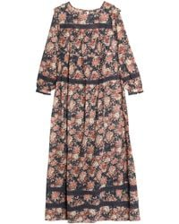 Current/Elliott - Pink Floral-print Cotton-gauze Maxi Dress - Lyst