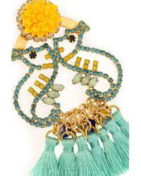 Elizabeth Cole - Yellow Tasseled Gold-tone, Crystal And Stone Earrrings - Lyst
