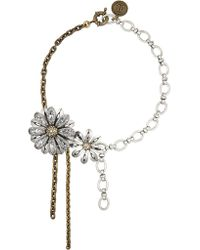 Lanvin | Metallic Gold And Silver-tone Swarovski Crystal Necklace | Lyst