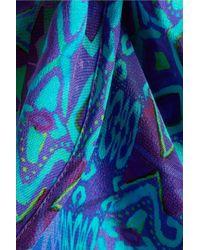 Matthew Williamson - Blue Petal Printed Silk-crepe Shorts - Lyst