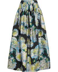 Adam Lippes - Blue Pleated Floral-jacquard Maxi Skirt - Lyst