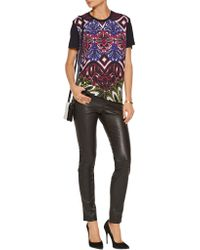 Just Cavalli | Purple Printed Crepe And Stretch-jersey T-shirt | Lyst