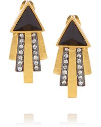 Kevia | Black Gold-plated, Onyx And Crystal Earrings | Lyst