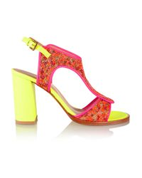 Markus Lupfer - Red Neon Leather And Brocade Sandals - Lyst