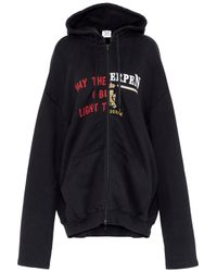 Vetements - Black Printed French Cotton-blend Terry Hooded Sweatshirt - Lyst