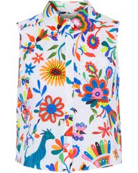 MILLY - White Leah Printed Cotton-blend Blouse - Lyst