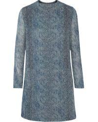 Tory Burch   Blue Snake-print Silk-georgette Mini Dress   Lyst