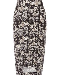 Zero + Maria Cornejo | Black Gemma Ruched Printed Stretch-crepe Skirt | Lyst