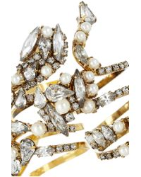 Erickson Beamon - Metallic Fairy Made Set Of Four Gold-plated, Swarovski Crystal And Swarovski Pearl Rings - Lyst