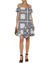 Cinq À Sept - White Minella Off-the-shoulder Ruffled Printed Satin-twill Mini Dress - Lyst
