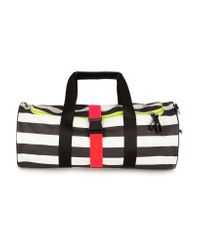 Monreal London | Black Striped Neon-trimmed Leather Holdall | Lyst