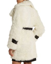 Topshop Unique - White Morrell Leather-trimmed Shearling Coat - Lyst